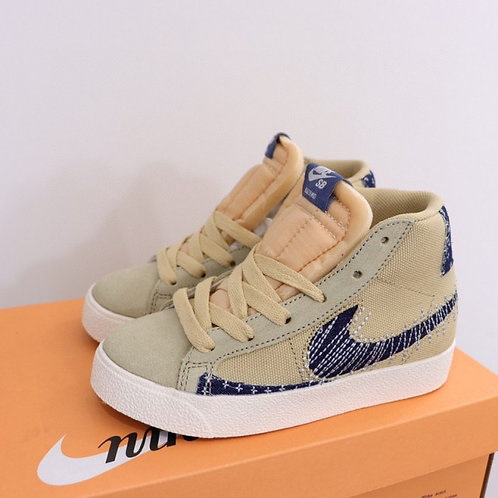 Nike SB Blazer Mid Khaki White kids Skateboarding Shoes