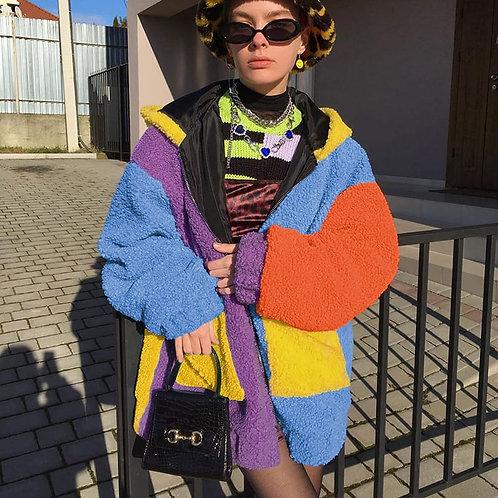 Women Fashion Contrast Color Patchwork Hooded Plush Coat