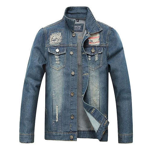 Wholesale Men Cotton Slim Fit Ripped Denim Jacket
