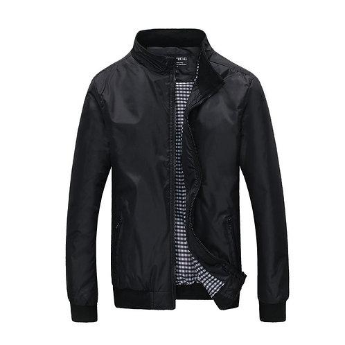 Men Casual Solid Color Stand Collar Zipper Jackets