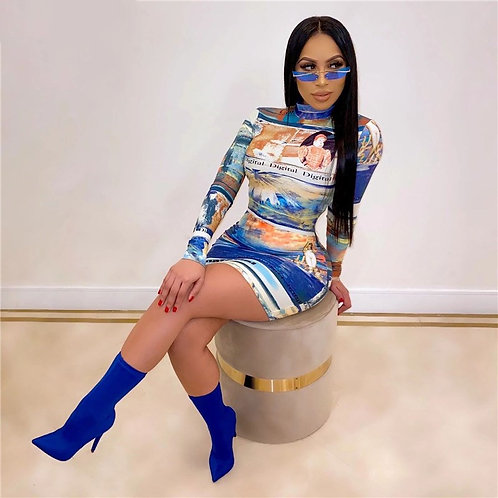 Women Fashion Printing Long Sleeve Turtle Neck Mini Dress