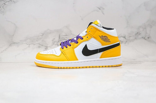 Air Jordan 1 Mid SE Lakers University Gold/Black 852542-700 Mens Womens Basket