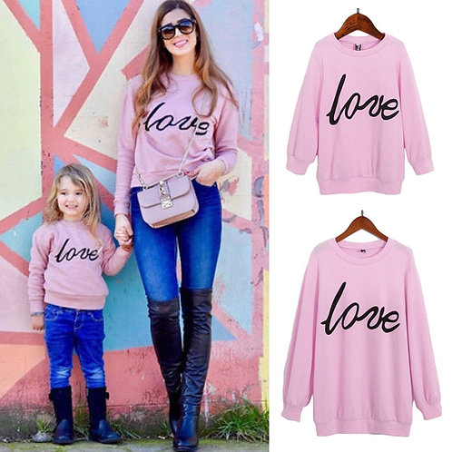 Women Girls Fashion Round Neck Long Sleeve Letter Printed Sweatshirt