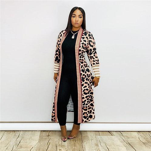 Women Fashion Leopard Print Long Sleeve Cardigan Coat