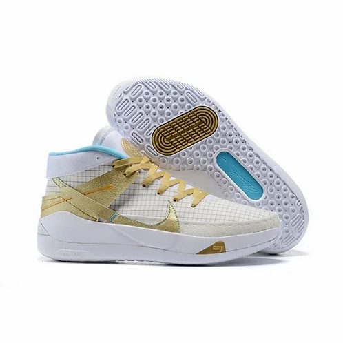 Nike KD 13 White/Baltic Blue/Summit White/Metallic Gold DA0895-102 Mens Basketba