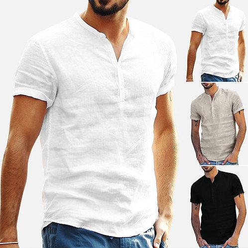 Men Casual Solid Color Short-sleeve Shirt
