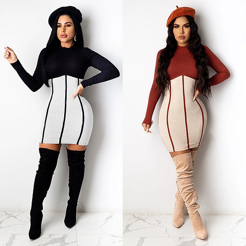 Women Fashion Round Neck Color Blocking Long Sleeve Dress