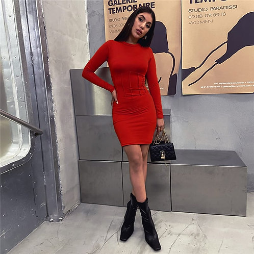 Women Fashion Solid Color Long Sleeve Dress
