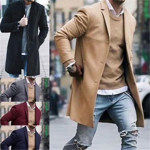 Men Fashion Solid Color Lapel Long Sleeve Coat