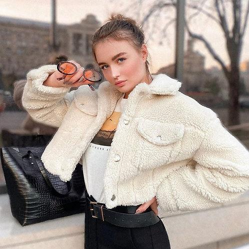 Women Fashion Lapel Long Sleeve Plush Jacket