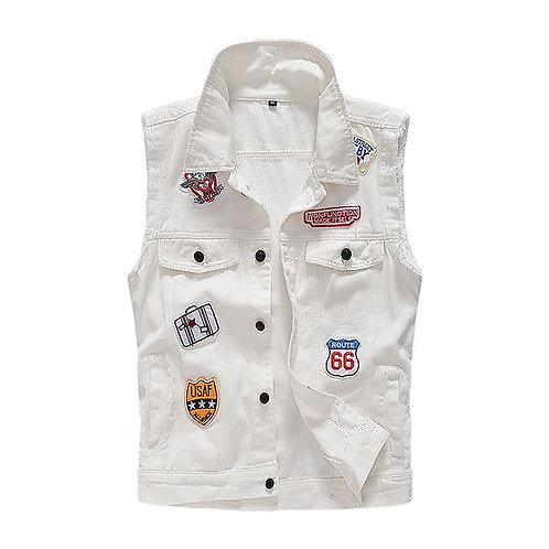 Men Cotton Personality Applique Sleeveless Jackets