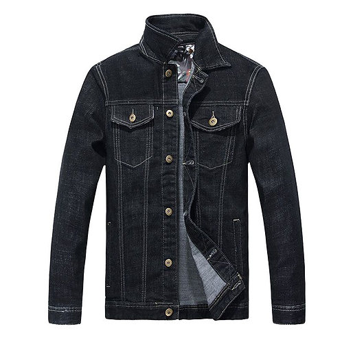 Men Cotton Black Button Design Denim Jacket