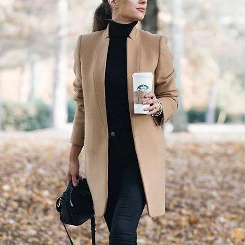 Women Stand Collar Solid Color Woollen Coat