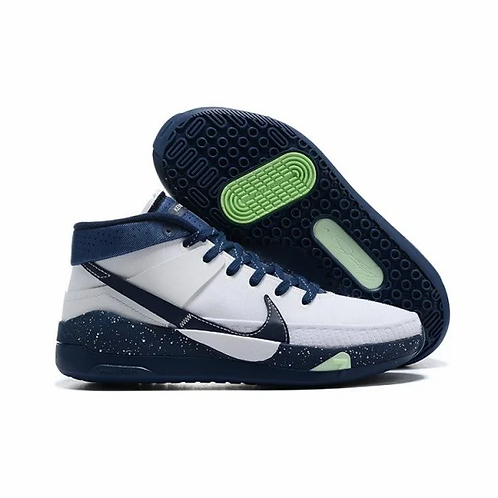 Nike KD 13 White/Midnight Navy-Barely Volt-Midnight Navy Mens Basketball Shoes