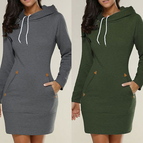 Women Solid Color Casual Long-sleeve Hooded Dress