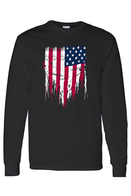 Men's/Unisex USA Flag Battle Ripped Long Sleeve T-shirt