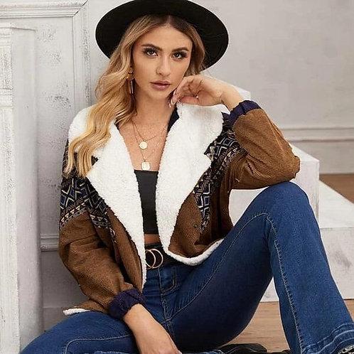 Women Vintage Contrast Color Lapel Loose Plush Jacket