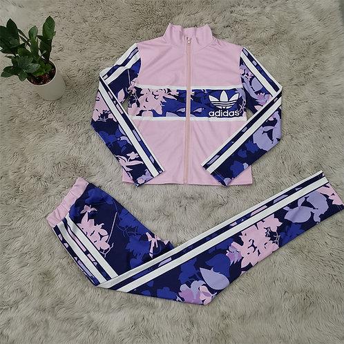 Women Fashion Flower Print Zipper Top And Pants Two Piece Set