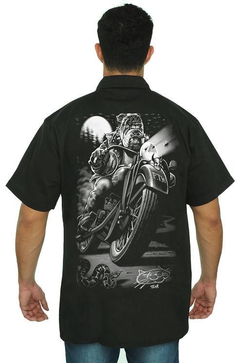 Men's Mechanic Work Shirt Biker Bulldog Cats Suck