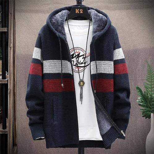 Men Fashion Color Blocking Zipper Hooded Knitwear Coat