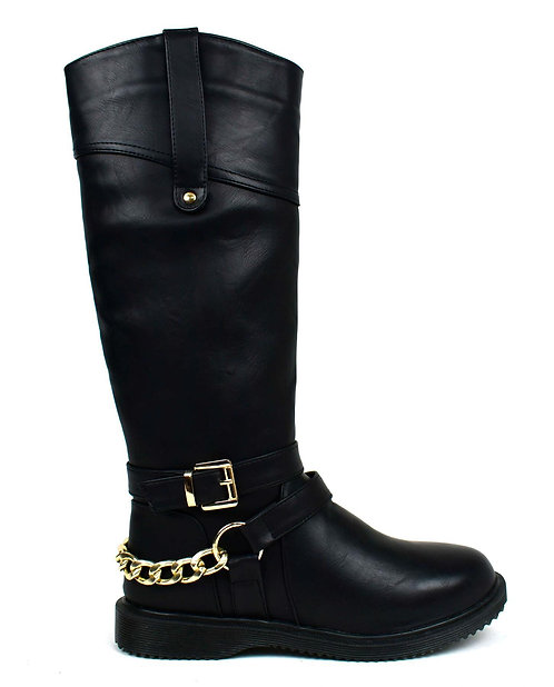 Gold Chain Riding Boot Black