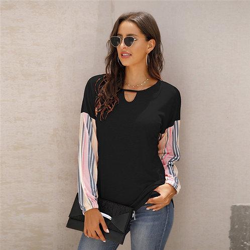 Women Fashion Patchwork Long Sleeve T-Shirt