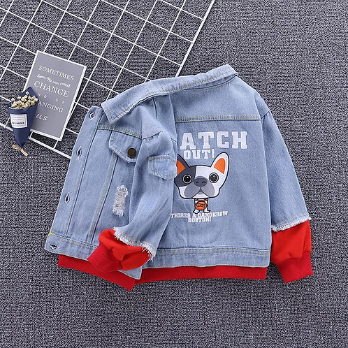 Boys Long-sleeves Spliced Lapel Single-breasted Denim Jacket
