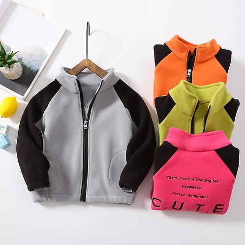 Wholesale Kids Splice Color Long-sleeves Zipper Coat