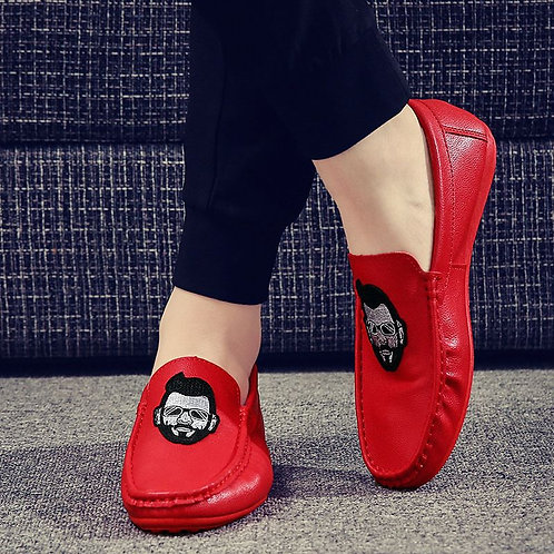 Unique Head Portraits Velcro Decor Design Men Fashion Flat Shoes