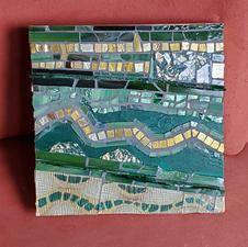 "Julie Corwin ""Verte et Jaune"" Glass, smalti, cloth, paper  $63.00"