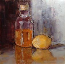 """Vicki Michael """"Glassworks Series No. 7 - Honey & Lemon"""" Oil on panel $250"""