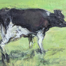 """Lee Newman """"Cow"""" Oil on panel $800.00"""