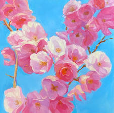 """Mary Beth Heiser Pawling """"Cherry Tree and The Sky """" Oil  $1250"""