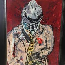 "Eric G. Perine ""Sax Player"" Acrylic $1,500.00"