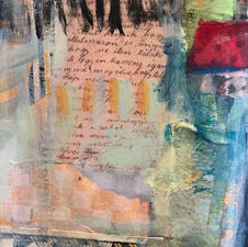 """christine mayo """"A SATURDAY TAPESTRY"""" Acrylic and paper $200.00"""