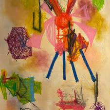 "Mariam Memarsadeghi ""Sweet Landing"" Acrylic, oil pastel, pencil $650"