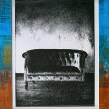 """Shannon Beatty """"All Buttoned Up"""" Hand-pulled letterpress photo-print/OOAK paste paper mat $250"""