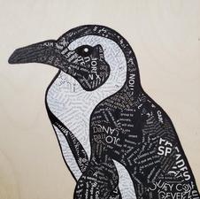 "Bonnie Zuckerman ""Penguin"" Mixed media collage $200"