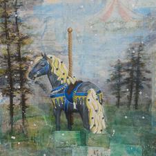 "Nicole Applegate ""Wild Carousel Horse"" Mixed Media on canvas $275.00"