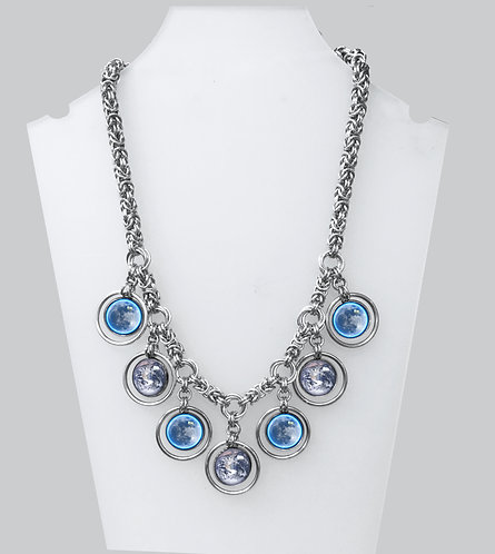 Earth & Moon Chainmail Necklace