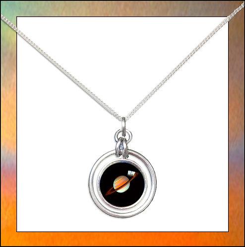 Saturn Hoop Pendant & Chain