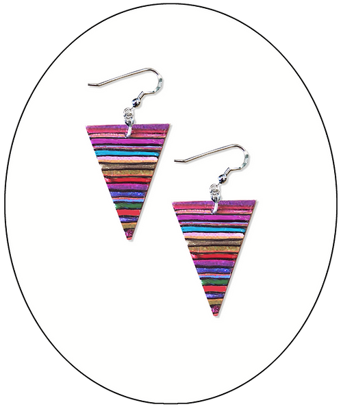 Small Stripey Triangle Earrings