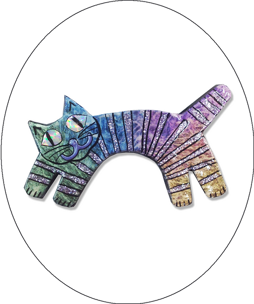 Leaping Cat Brooch