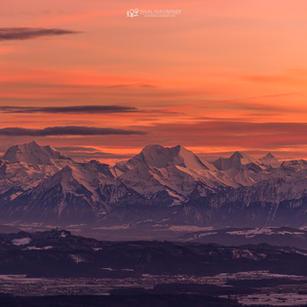 Alpenblick  im Abendrot