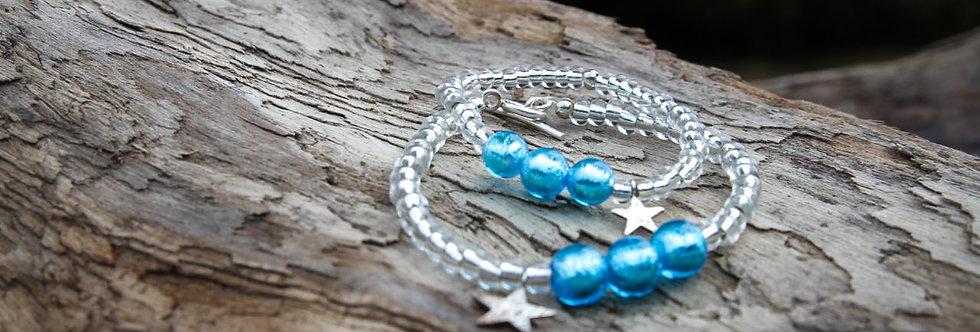 Armbänder 'starlight' (sommerblau) mit Stern - Mami & Tochter