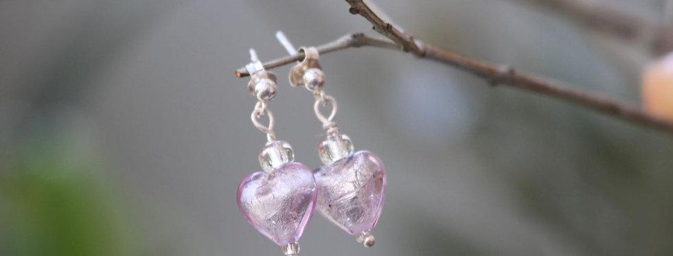 Ohrringe 'charming heart' (zartviolett) - Murano collection