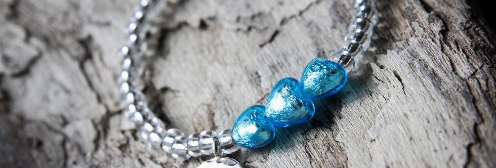 Armband 'charming hearts' (sommerblau) - Ladies