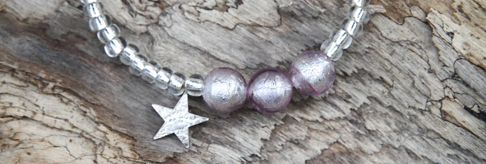 Armband 'starlight' (zartviolett) mit Stern - Ladies