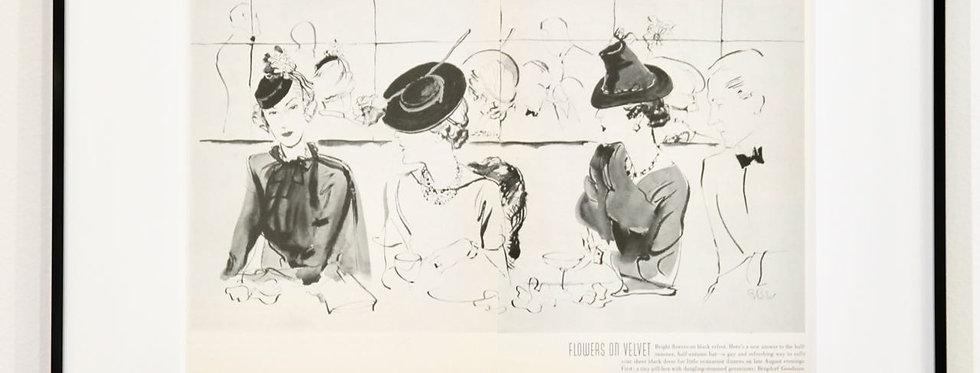 Flowers on velvet - Vogue Artikel original (Doppel, 1936)