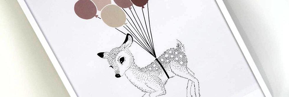 Poster 'Flying Bambi' gerahmt - für Kinderzimmer